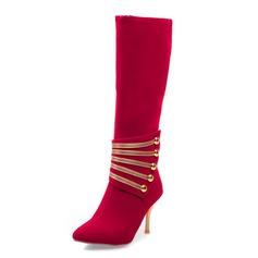 Frauen Wildleder Stöckel Absatz Absatzschuhe Geschlossene Zehe Stiefel-Wadenlang mit Pailletten Schuhe