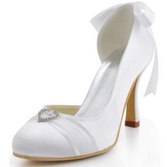 Women's Satin Stiletto Heel Closed Toe Pumps With Bowknot Rhinestone