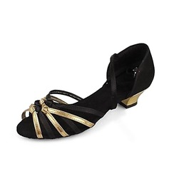 Women's Satin Leatherette Sandals Latin With Ankle Strap Dance Shoes