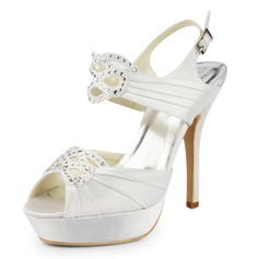 Satin Stiletto Heel Platform Pumps Sandals Wedding Shoes With Buckle Rhinestone (047011859)