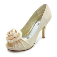Satin Stiletto Hl Titte T Platform Pumps Brudesko med Sateng Blomst (047005115)