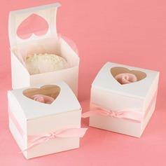 en Forma de Corazón Corte Láser Cubic Cajas de la magdalena con Cintas (Juego de 12)
