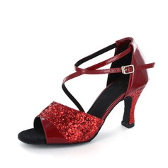 De mujer Cuero Brillo Chispeante Tacones Sandalias Danza latina con Tira de tobillo Zapatos de danza