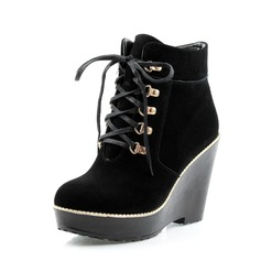 Suede Wedge Heel Platform Ankle Boots Martin Boots With Sequin shoes