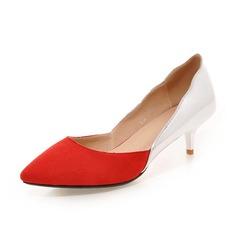 Donna Camoscio Tacco basso Stiletto Punta chiusa scarpe