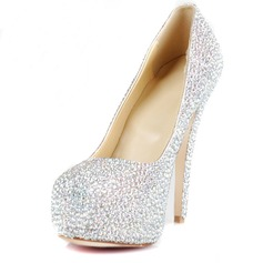 Women's Patent Leather Stiletto Heel Pumps Platform Closed Toe With Rhinestone shoes