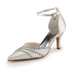 Women's Satin Stiletto Heel Closed Toe Pumps With Buckle Rhinestone