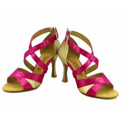 De mujer Satén Tacones Sandalias Danza latina Salsa Fiesta con Tira de tobillo Agujereado Zapatos de danza