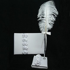 White Satin Rose Guest Book And Pen Set With Feather(101018195)