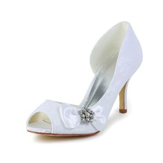 Women's Satin Stiletto Heel Peep Toe Pumps With Bowknot Rhinestone