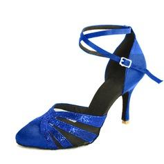 De mujer Satén Tacones Salón Moderno con Tira de tobillo Hebilla Zapatos de danza
