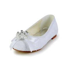 Girl's Satin Flat Heel Closed Toe Flats With Bowknot Imitation Pearl
