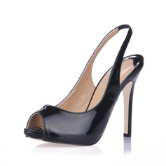 Patent Leather Stiletto Heel Sandalen Peep Toe Slingbacks schoenen
