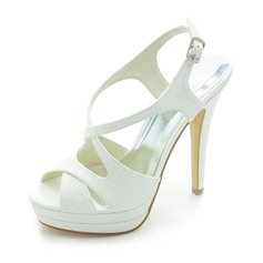 Satin Stiletto Heel Platform Slingbacks Pumps Sandals Wedding Shoes With Buckle (047017770)