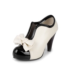 Leatherette Stiletto Heel Platform Closed Toe Ankle Boots With Bowknot shoes