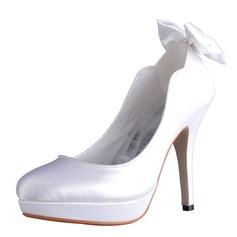 Women's Silk Like Satin Stiletto Heel Closed Toe Platform Pumps With Bowknot