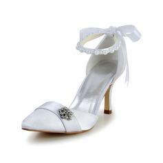 Women's Satin Spool Heel Closed Toe Pumps With Imitation Pearl Sequin
