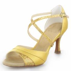 De mujer Satén Brillo Chispeante Tacones Salón Danza latina con Tira de tobillo Zapatos de danza