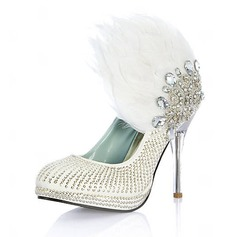 Leatherette Stiletto Heel Closed Toe Pumps Wedding Shoes With Beading Feather Rhinestone Sequin (047020109)