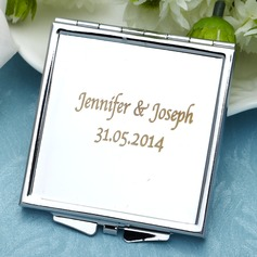 Personalized Square Stainless Steel Compact Mirror