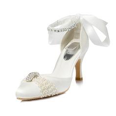 Women's Silk Like Satin Spool Heel Closed Toe Pumps With Imitation Pearl Rhinestone
