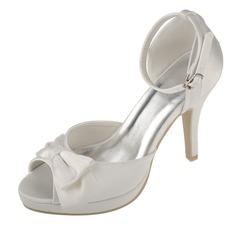 Women's Satin Stiletto Heel Peep Toe Platform Sandals With Bowknot Buckle