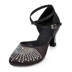 De mujer Satén Tacones Salón Moderno con Rhinestone Tira de tobillo Zapatos de danza