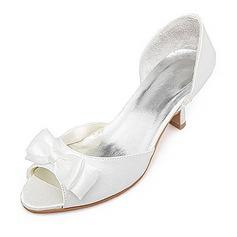 Women's Satin Spool Heel Peep Toe Sandals With Bowknot