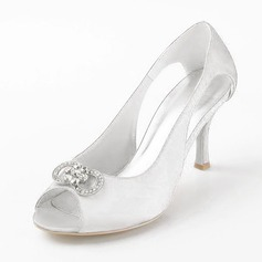 Satin Stiletto Heel Peep Toe Pumps Sandals Wedding Shoes With Rhinestone (047011841)