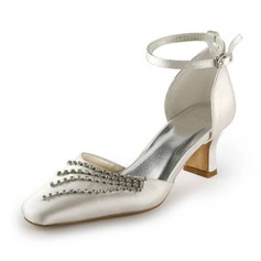 Satin Spool Heel Closed Toe Wedding Shoes With Buckle Rhinestone (047011839)
