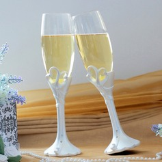 "Double Heart ""Our Moment"" Lead-free Glass Toasting Flutes (Set Of 2)"