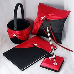 Elegant Wedding Collection Set In Bold Red And Black Satin (4 Pieces)(100017971)