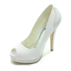 Satin Stiletto Heel Peep Toe Platform Pumps Wedding Shoes With Rhinestone (047018126)