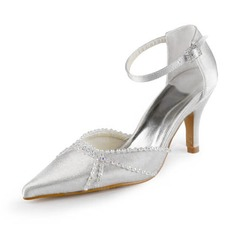 Satin Stiletto Heel Closed Toe Pumps Wedding Shoes With Buckle Rhinestone (047011864)