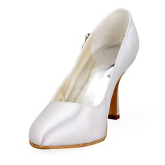 Satin Stiletto Heel Closed Toe Pumps Wedding Shoes With Rhinestone (047011838)
