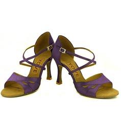 De mujer Satén Tacones Sandalias Danza latina Salsa Fiesta con Tira de tobillo Zapatos de danza
