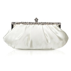 Ivory Gorgeous Satin Shell With Rhinestone Evening Handbags/ Clutches More Colors Available (012005572)