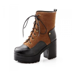 Women's Leatherette Chunky Heel Platform Ankle Boots With Braided Strap shoes