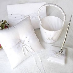 Linked Hearts White Satin Wedding Collection Set With Rhinestone (4 Pieces)(100017952)