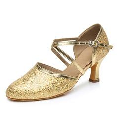 De mujer Brillo Chispeante Tacones Salón Estilo Moderno con Tira de tobillo Zapatos de danza