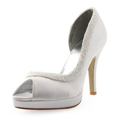 Satin Spool Heel Peep Toe Platform Pumps Wedding Shoes With Sequin (047004931)