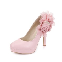 Leatherette Stiletto Heel Pumps Closed Toe With Imitation Pearl Flower shoes