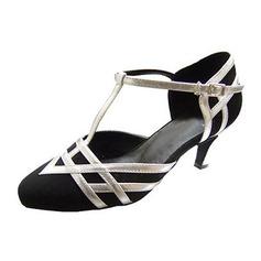 Women's Leatherette Nubuck Heels Pumps Modern With T-Strap Dance Shoes