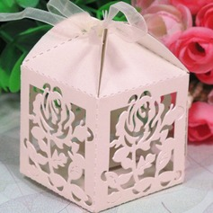 Rose Design Cubic Favor Boxes With Ribbons (Set of 12)