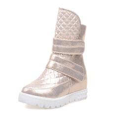 Frauen Kunstleder Keil Absatz Geschlossene Zehe Keile Stiefelette mit Klettverschluss Schuhe