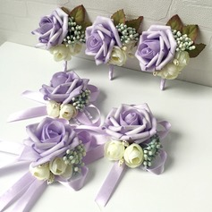 Lindo Espuma Conjuntos de flores (conjunto de 2) - Buquê de pulso/Alfinete de lapela