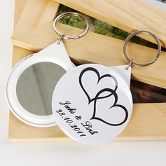 Personalized Double Hearts Plastic Keychains/Compact Mirror (Set of 5)