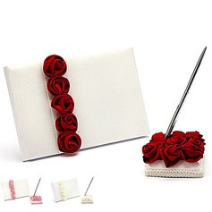 Bold Red Luxury Rose Lined Rose Guestbook & Pen Set