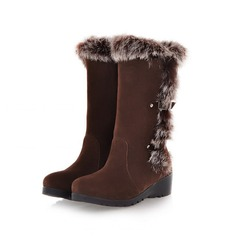 Women's Real Leather Low Heel Platform Mid-Calf Boots With Buckle Fur shoes