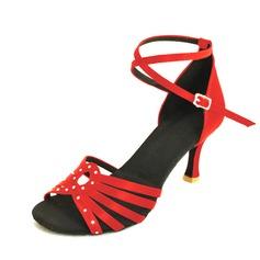 De mujer Cuero Tacones Salón Danza latina con Tira de tobillo Hebilla Zapatos de danza